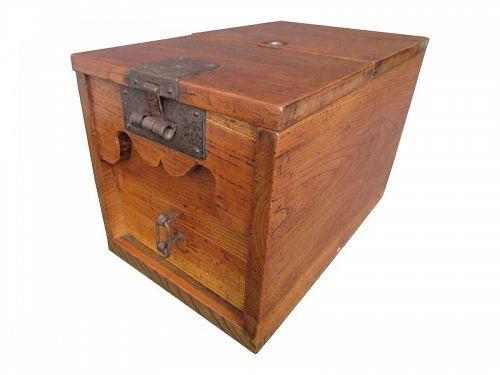 Antique Japanese Zeni Bako (Merchant Coin Box) Keyaki & Secret Box Edo