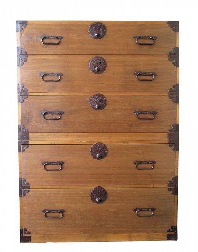Antique Japanese Kasane Tansu 2 Section 3/2 Drawer Design Meiji Era
