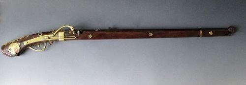 Japanese Antique Matchlock Tanagashima (gun) with Chrysanthemums