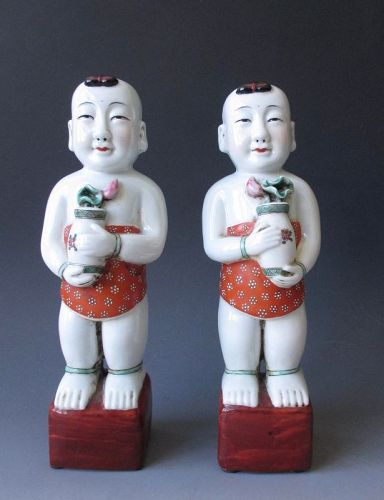 Pair of Chinese Antique Porcelain Figures Hehe Erxian,  Heavenly Twins