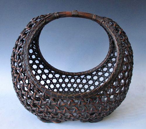 Japanese Antique Large Moon Basket for Ikebana