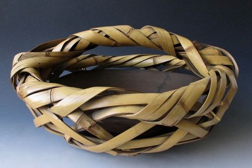 Japanese Antique Wide Bamboo Ikebana Basket with Copper insert