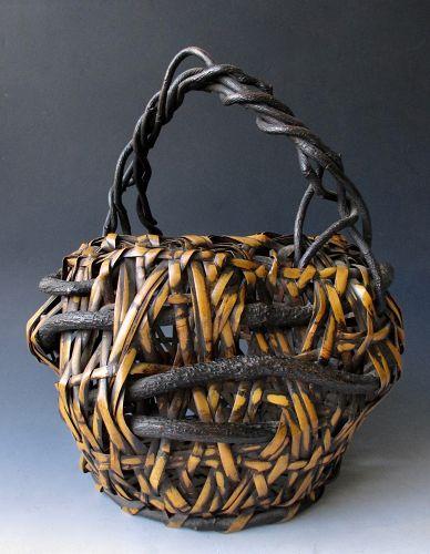Japanese Antique Bamboo Ikebana Basket with Wisteria Vine