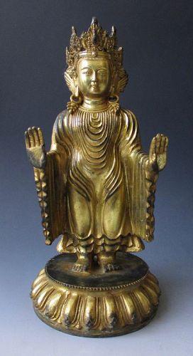 Tibetan Antique Gilt Bronze Standing Figure of a Bodhisattva
