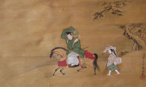 Japanese Antique Scroll Painting, Courtier in Snow, Kiyohara Harunobu
