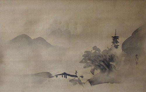 Japanese Antique Scroll Painting of a Tall Pagoda, by Kano Tsunenobu