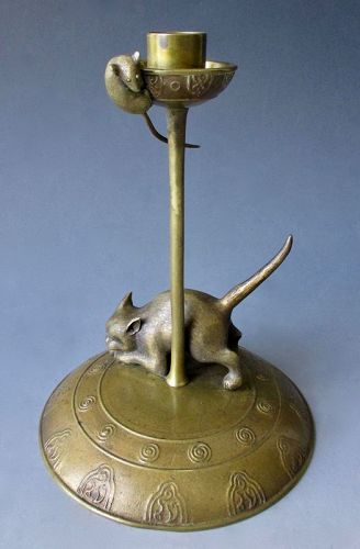 Japanese Antique Bronze Candlestick with Cat and Mouse