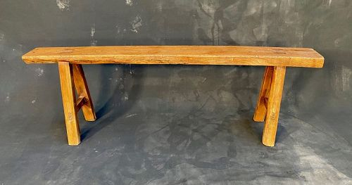 Antique Chinese Solid Elm Skinny Bench 19th Century