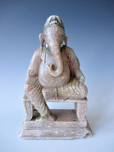 Indian Antique Stone Figure of Seated Ganesha