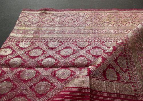Indian Banarasi Silk Brocade Purple Saree with Gold and Silver Zari