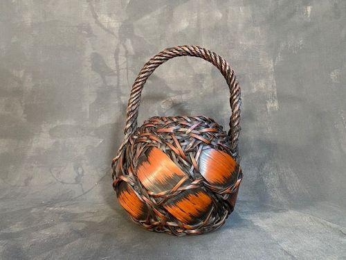 Antique Japanese Bamboo Ikebana Basket Rounded Barrel Shape Meiji Era