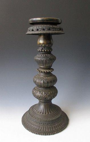 Tibetan Antique Tall Bronze Butter Lamp
