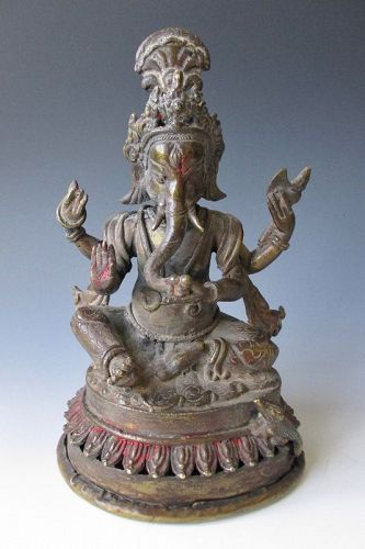 Antique Bronze Seated Ganesha,  Northern India