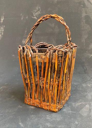 Antique Japanese Bamboo Ikebana Basket Grated Half Hooped Corners