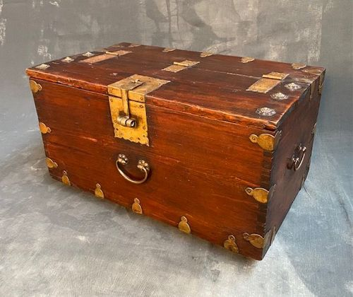 Antique Korean True Chest Red Pine Double Gourd Mounts 19th C