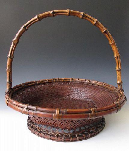 Japanese Antique Bamboo Fruit (or Ikebana) Basket