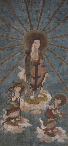Japanese Antique Scroll Painting of Amida Raigo Sanzon (Triad)