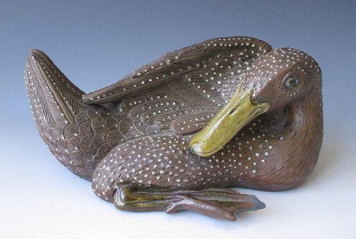 Chinese Brown Ceramic Sitting Duck