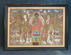 Large19th C. Yi Dynasty Korean Buddhist Painting 16 Deities