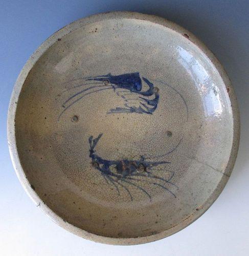 Japanese Antique Seto Ware Ishizara Plate with Crayfish