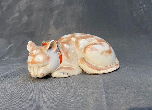 Antique Kutani Sleeping Cat Nemuri Neko Large Japanese Figurine Meiji