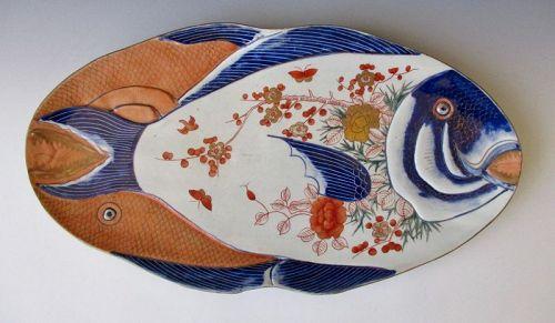 Japanese Antique Large Imari Porcelain Fish Plate