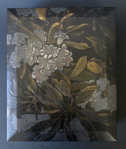Japanese Antique Lacquer Document Box with Rhododendron by Genjuro