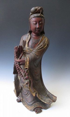 Chinese Antique Lacquered Wood Figure of Quanyin (Kannon)