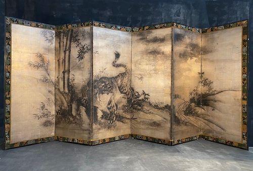 Japanese Antique 6 Panel Byobu Screen Painting of Tiger