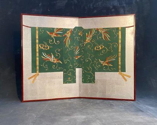 Antique Japanese 2 Panel Byobu Screen Mounted Noh Kimono Meiji period