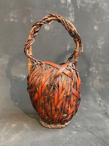 Antique Japanese Ikebana Basket Cocoon Shape Artist Signed Meiji Era