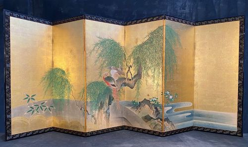 Japanese Antique 6 Panel Screen Painting of Pheasants in a Willow