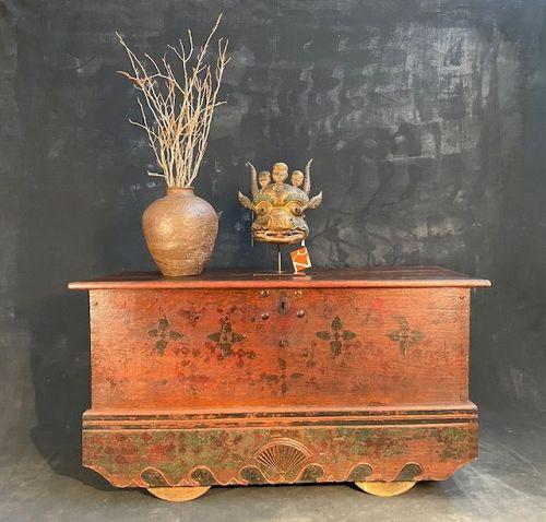 Jakarta (Javanese) 19th C. Teak Hardwood Wheeled Trunk