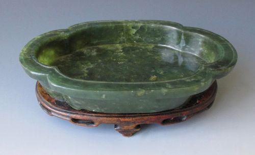 Chinese Antique Spinach Jade Quatrefoil Lobed Bowl