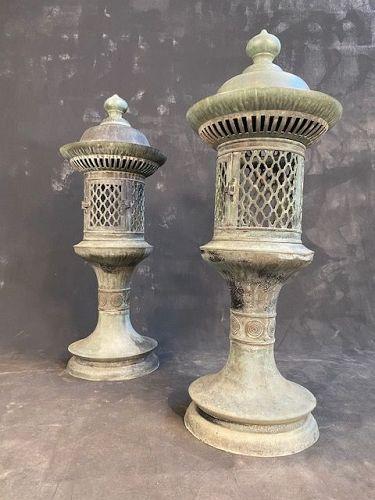 Pair of Antique Japanese Temple Bronze Lanterns Meiji period