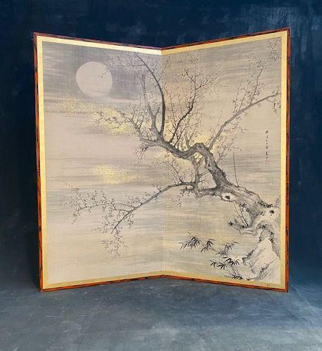 Antique Japanese Byobu Screen 2 Panel Cherry Blossom Tree & Full Moon