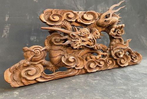 Antique Japanese Dragon Temple Carving Keyaki Edo Period