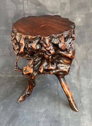 Chinese Antique Scholar's Stand Root Burl Wood