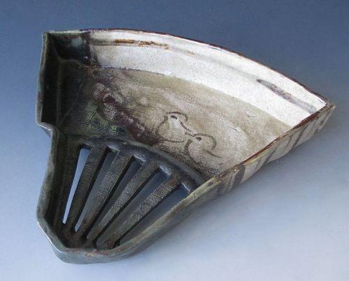 Japanese Antique Oribe Ware Fan Dish