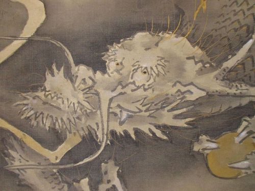 Japanese Antique Scroll Painting of a Dragon