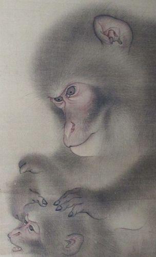 Japanese Antique Framed Painting of Monkeys by Mori Sosen