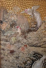 Japanese Meiji Gold Silk Embroidery of Two Cockerels