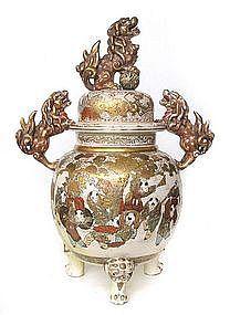 Japanese Satsuma Lidded Jar with Fu-dogs,  Meiji Period