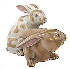 Japanese Pair of Kutani Ware Porcelain Rabbits