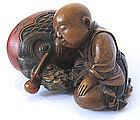 Japanese Antique Boxwood Netsuke of Sleeping Monk