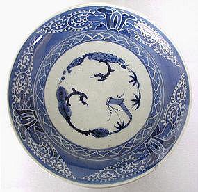 Japanese blue and white glazed Imari plate