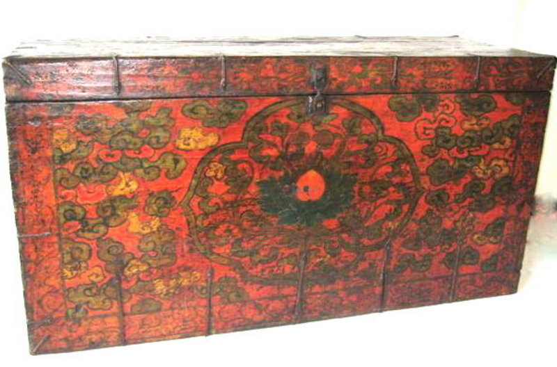 Antique Tibetan Painted Trunk
