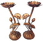 Japanese Pair Gilt Brass Lotus Candlestands