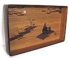 Rare Pair of Japanese Antique Kiri and Cherry Wood Trays